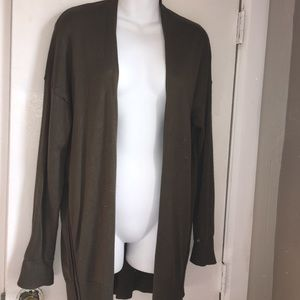 ZARA Knit Olive Green Cardigan with Side Zippers-L